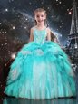 Cheap Aqua Blue Little Girls Pageant Gowns Party and Wedding Party and For with Beading and Ruffles Spaghetti Straps Sleeveless Lace Up