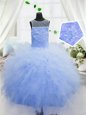 Scoop Floor Length Zipper Little Girl Pageant Dress Baby Blue and In for Party and Wedding Party with Beading and Ruffles