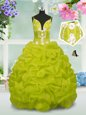 Floor Length Lace Up Little Girl Pageant Dress Yellow Green and In for Party and Wedding Party with Beading and Pick Ups