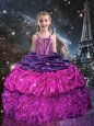 Excellent Purple Spaghetti Straps Lace Up Beading and Ruffles and Pick Ups Little Girl Pageant Dress Sleeveless