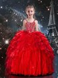 Trendy Red Ball Gowns Organza One Shoulder Sleeveless Beading and Ruffles Floor Length Lace Up Little Girls Pageant Dress