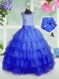 Sleeveless Beading and Ruffled Layers Zipper Little Girls Pageant Dress