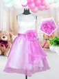 Charming Scoop Rose Pink Sleeveless Organza Zipper Little Girls Pageant Gowns for Military Ball and Sweet 16 and Quinceanera