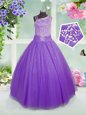 Great Rose Pink Sleeveless Beading Floor Length Girls Pageant Dresses