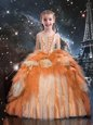Admirable Tulle Spaghetti Straps Sleeveless Lace Up Beading and Ruffled Layers Little Girls Pageant Gowns in Gold