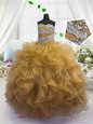 Most Popular Floor Length Gold Little Girls Pageant Dress Wholesale Sweetheart Sleeveless Lace Up