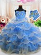 Most Popular Blue Ball Gowns Spaghetti Straps Sleeveless Organza Floor Length Zipper Beading and Ruffled Layers Little Girls Pageant Gowns
