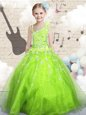 Beading and Ruffles Little Girl Pageant Dress Blue Lace Up Sleeveless Floor Length