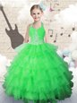 Halter Top Green Organza Lace Up Girls Pageant Dresses Sleeveless Floor Length Beading and Ruffled Layers