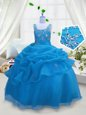 Beading and Pick Ups Girls Pageant Dresses Aqua Blue Lace Up Sleeveless Floor Length