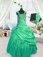 Best Pick Ups Ball Gowns Little Girl Pageant Dress Turquoise Straps Satin Sleeveless Floor Length Lace Up