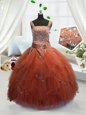 Admirable Orange Red Tulle Lace Up Straps Sleeveless Floor Length Little Girls Pageant Dress Beading and Ruffles