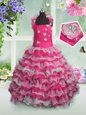 Customized Straps Sleeveless Organza Little Girl Pageant Dress Beading and Appliques and Ruffled Layers Lace Up