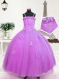 Unique Lilac Spaghetti Straps Zipper Beading and Appliques Little Girls Pageant Dress Sleeveless
