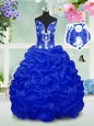 Royal Blue Ball Gowns Beading and Pick Ups Little Girl Pageant Dress Lace Up Taffeta Sleeveless Floor Length