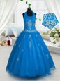 Customized Halter Top Sleeveless Tulle Floor Length Lace Up Pageant Gowns For Girls in Aqua Blue for with Appliques