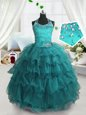 Charming Turquoise Ball Gowns Spaghetti Straps Sleeveless Organza Floor Length Lace Up Beading and Ruffled Layers Little Girl Pageant Gowns