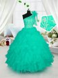 Custom Designed Floor Length Turquoise Girls Pageant Dresses One Shoulder Sleeveless Lace Up