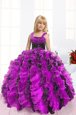 High Class Fuchsia Organza Lace Up Straps Sleeveless Floor Length Little Girl Pageant Dress Beading and Ruffles