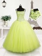 Gorgeous Tulle Straps Sleeveless Lace Up Beading and Sequins Little Girls Pageant Dress in Yellow Green