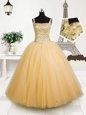 Dramatic Orange Straps Neckline Beading and Sequins Little Girl Pageant Dress Sleeveless Lace Up