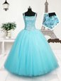 Hot Selling Floor Length Light Blue Kids Formal Wear Tulle Sleeveless Beading and Sequins