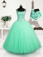 Elegant Turquoise Tulle Lace Up Straps Sleeveless Floor Length Child Pageant Dress Beading and Sequins