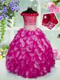 Sleeveless Lace Up Floor Length Beading and Ruffles and Sequins Kids Formal Wear