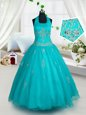 Sweet Aqua Blue Lace Up Halter Top Appliques Pageant Gowns For Girls Tulle Sleeveless