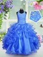 Mermaid Aqua Blue Lace Up Halter Top Beading and Ruffles Little Girls Pageant Gowns Organza Sleeveless