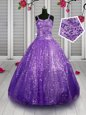 Latest Turquoise Ball Gowns Organza Straps Sleeveless Beading and Ruffles Floor Length Lace Up Little Girls Pageant Gowns