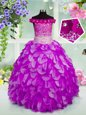 Organza Off The Shoulder Sleeveless Lace Up Beading and Hand Made Flower Little Girl Pageant Dress in Lavender
