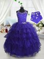Luxurious Scoop Navy Blue Sleeveless Beading and Ruffled Layers Floor Length Pageant Gowns For Girls