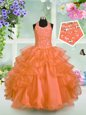 New Style Orange Little Girls Pageant Dress Party and Wedding Party and For with Beading and Ruffled Layers Halter Top Sleeveless Lace Up