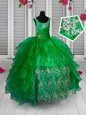 Dazzling Floor Length Green Girls Pageant Dresses Organza Sleeveless Appliques and Ruffled Layers