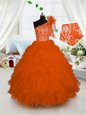 Orange One Shoulder Neckline Embroidery and Ruffles Little Girls Pageant Dress Wholesale Sleeveless Lace Up