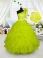 Yellow Green Organza Lace Up One Shoulder Sleeveless Floor Length Little Girls Pageant Dress Wholesale Embroidery and Ruffles
