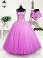 Ball Gowns Child Pageant Dress Blue Spaghetti Straps Organza Sleeveless Floor Length Lace Up