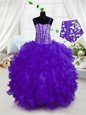 Beading and Ruffles Little Girls Pageant Gowns Purple Lace Up Sleeveless Floor Length