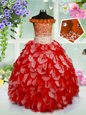 Beautiful Off The Shoulder Sleeveless Child Pageant Dress High Low Beading and Hand Made Flower Red Organza