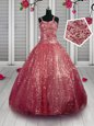 Sleeveless Beading and Sequins Lace Up Girls Pageant Dresses