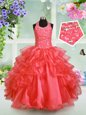 Floor Length Lace Up Little Girl Pageant Dress Lavender and In for Party and Wedding Party with Beading and Ruffles