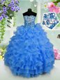 Great Pick Ups Floor Length Blue Girls Pageant Dresses Straps Sleeveless Lace Up