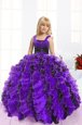 Trendy Ball Gowns Pageant Gowns For Girls Blue And Black Straps Organza Sleeveless Floor Length Lace Up