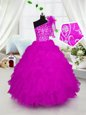 Lavender Zipper Scoop Ruffles and Sequins Little Girls Pageant Dress Organza Sleeveless