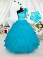 Fashionable Multi-color Sleeveless Floor Length Beading and Ruffles and Sequins Lace Up Little Girl Pageant Gowns