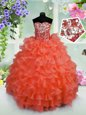 Wonderful Coral Red Ball Gowns Sweetheart Sleeveless Organza Floor Length Lace Up Ruffled Layers and Sequins Little Girls Pageant Dress