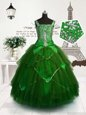 Dark Green Tulle Lace Up Pageant Gowns For Girls Sleeveless Floor Length Beading and Sashes|ribbons