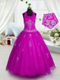 Fuchsia Tulle Lace Up Halter Top Sleeveless Floor Length Little Girl Pageant Dress Appliques