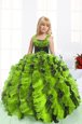 Modern Yellow Green Straps Lace Up Beading and Ruffles Kids Formal Wear Sleeveless